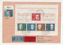 Bundesrepublik Deutschland - 1959 - Block 2 Und Mi. 325 Auf Lupo-/Expressbrief Ex Muenster Nach Wien (1/216) - Cartas