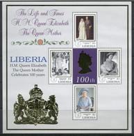 Liberia 1999 Queen Mother 100th Birthday MS4 MUH - Liberia