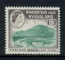 Rhodesia & Nyasaland 1959-63 QEII Pictorial 1/3d Lake Nyasa MUH - Rhodesien & Nyasaland (1954-1963)