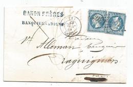- BASSES ALPES - DIGNE - GC.1304 S/TP Napoleon III N°22x2 - Càd Type 15 - 1867 - 1862 Napoléon III