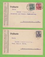 2 FIRMENKARTE AUS EIBENSTOCK AN EINER MINERALÖL GROSSHANDLUNG IN ZWICKAU. - Lettres & Documents