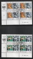 Vereinte Nationen UN UNO Genf 1987 Michel Nr. 156, 157. Je 4-er Eckrandblock ESST Mit Originalgummi - Usados