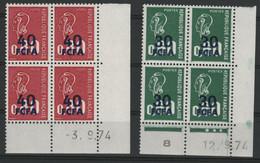 REUNION 2 Blocs De 4 Du N° 429 Et 430 Coin Daté Du 3/9/74 Et 12/9/74. Neufs Sans Charnières ** (MNH). TB - Unused Stamps