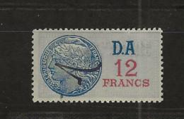 FISCAUX FRANCE SERIE UNIFIEE N°227 12F DAII Bleu Cote 120€ - Fiscale Zegels