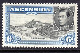 ASCENSION - 1938-1953 KGVI DEFINITIVE 1938 6d PERF 13½ BLACK & BLUE MOUNTED MINT MM * SG 43 REF C - Ascension (Ile De L')