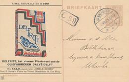 Nederland - 1925 - 7,5 Cent Wilhelmina - Part. Bedrukte TIBO-Briefkaart - Delfrite Calvé - Van Glanerbrug Naar Utrecht - Postwaardestukken