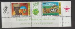 Togo 1985 Philexafrique 1180A  2 Val ** MNH - Togo (1960-...)