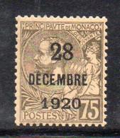 XP2257 - MONACO 1921 , Unificato N. 50 Nuovo * Linguella. Battesimo - Unused Stamps