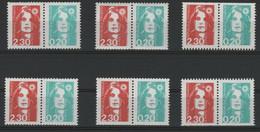 N° P2614 (x6) COTE 72 € Paires Avec N° 2614 Et 2618 Provenant De Carnets. Marianne Du Bicentenaire. Neufs ** (MNH). TB - 1989-96 Marianne Du Bicentenaire