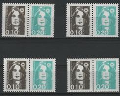 N° P2617 (x4) COTE 32 € Paires Avec N° 2617 + 2618 Provenant De Carnets. Marianne Du Bicentenaire. Neufs ** (MNH). TB - 1989-96 Marianne Du Bicentenaire