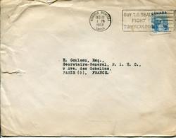 Canada (1953) - Busta Per La Francia - Cartas
