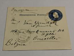 Mémorandum Postal, 15 Centavos Oblitéré Buenos Aires 1901 Envoyé à Bruxelles. Bahia Lapataia - Cartas