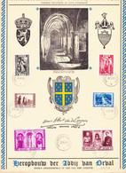 B01-356 513 514 515 516 517 518 Feuillet Souvenir FDC 4070 Reconstruction Abbaye D' Orval 20-06-1939 Bruxelles 1 Brussel - Cartas Commemorativas