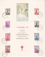 B01-356 Feuillet Souvenir FDC 519 520 521 522 523 524 525 526 Croix Rouge Tuberculose 01-12-1939 Bruxelles 1 Brussel - Cartas Commemorativas