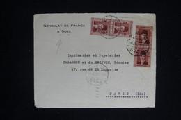 EGYPTE - Enveloppe Du Consulat De France à Suez Pour Paris En 1939 - L 89680 - Briefe U. Dokumente