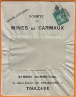 Semeuse PERFOREE  C-X  5c Vert  Sur Enveloppe PUB Des MINES De CARMAUX + Courriers  Du 31 Déc 1912  Reçu Le 3 1 1913 - Gezähnt (Perforiert/Gezähnt)