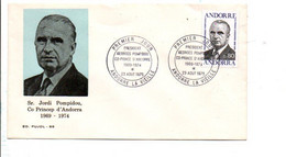 ANDORRE FDC 1975 GEORGES POMPIDOU - FDC