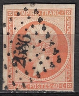 France 1853-60 Napoléon III Empire Franc. 40 C Jaune-orange Yvert Nr. 16 Obliteration 2686 Petit Chiffre - 1853-1860 Napoleon III