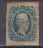 Etats Unis Etats Confeders D'Amerique 1862 Yvert 10 * Neuf Avec Charniere Bleu - 1861-65 Confederate States
