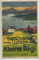 CPA Illustration DIETSCHIBERG SCHWEIZ LUZERN SUISSE DRAHTSEILBAHN FUNICULAIRE KLEINE RIGI - LU Luzern