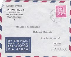 BELGIQUE - BELGIO - LIE'GE - BUSTAVIA BY AIR MAIL - FABRIQUE D'ARMES J. DUQUENNE - VIAGGIATA PER MILAN - ITALY - Covers & Documents