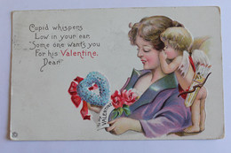 Anges Gaufré -cupid Whispers Low In Your Ean. Some One Wants You For His Valentine Dear! - Angels