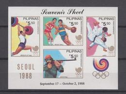 Philippines 1988 Yvert  Bloc 29 **  Jeux Olympiques Séoul 1988. Summer Olympics Judo Tir Basket Ball - Sommer 1988: Seoul