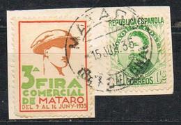 Sello Viñeta MATARO (Barcelona) 3º Fira Comercial, Junio 1936, Fragmento º - 1931-50 Gebraucht