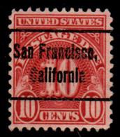 """USA Precancel Vorausentwertung Preo, """"SAN FRANCISCO"""" (CAL). Taxe 10 Cents. 1930. - Sin Clasificación"""