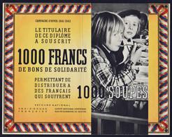 FRANCE Bons & Nécessité. Secours National (1941/42) Très RARE Bon De Solidarité Illustré De 1000F Pour..... - Bonos
