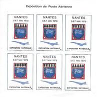 EXPOSITION POSTE AERIENNE- NANTES, 5,6,7 Mai 1979 -feuillet De 6 Vignettes - CONCORDE-AEROPHILATELIE -TB - Expositions Philatéliques