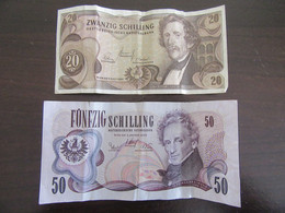 Autriche / Österreich - 2 Billets 20 Schilling 1967 Et 50 Schilling 1970 - Austria