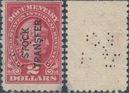 Stati Uniti D'america,United States,U.S.A,Revenue Stamp DOCUMENTARY, Overprinted(STOCK TRANSFER) $2 Mint,PERFIN - Perforados