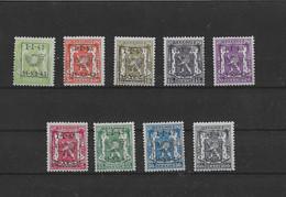 TIMBRES BELGIQUE Préoblitérés  PRE 493/501XX - Typos 1936-51 (Petit Sceau)