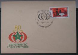 Koverto Kun Esperanto Stampo. 1967 80-jaroj De Esperanto - Cartas