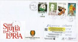 Lettre De Sant Julia De Loria,(Andorra), Adressée à Monaco, Pendant Confinement Covid-19 , Return To Sender, Deux Photos - Altri