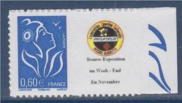 Timbre Marianne De Lamouche Type Autocollant  0.60€ Bleu De Feuillet, 3966Aa, Petit Logo, Dentelé 4 Cotés; Spink N°59 - Personnalisés
