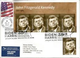 Joe Biden Harris , 59th Presidential Inauguration, 20 January 2021, B-F Kennedy, Lettre Adressée Andorra, - Cartas