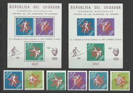 Equateur Ecuador Yv. 769/770 ** + PA 472/475 ** + Blocs 28A/28B ( Ref Michel) ** Jeux Olympiques De Grenoble - Olympics - Winter 1968: Grenoble