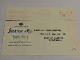 Esperon D'or Iseghem Oblitéré 1952 Envoyé à Esch-Alzette - Cartes Postales [1951-..]