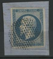 N° 14A Obl. CERCLE DE POINTS Avec De Belles Marges, Sur Un Petit Fragment. TB - 1849-1876: Période Classique