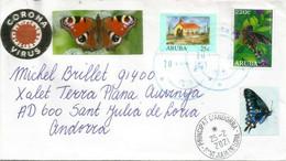 Lettre île D'Aruba (Netherlands Antilles), Arrivée Andorra Pendant Confinement Covid-19, Avec Timbre à Date Arrivée - Otros - América