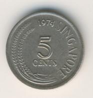 SINGAPORE 1974: 5 Cents, KM 2 - Singapore