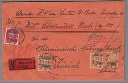 DE DR 1928-08-17 Baden-Baden Wertbrief Nach Zürich RM 1.60 - Cartas