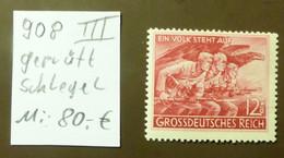 Deutsches Reich Michel Nr: 908  III   Geprüft Schlegel  Postfrisch ** MNH   #5435 - Engraving Errors