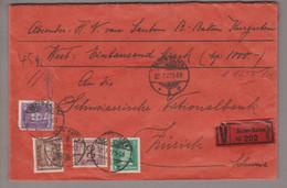 DE DR 1927-07-22 Baden-Baden Wertbrief Nach Zürich 45 Gr. - Cartas