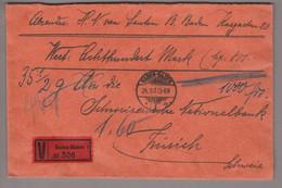 DE DR 1928-08-24 Baden-Baden Wertbrief Nach Zürich Mit 2x 80Pf. A.Durrer Mi#397 Mehrfachfrankatur - Cartas