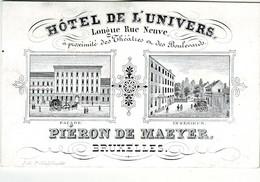 DE 433a - Carte Porcelaine D'Hotel De L'Univers, Bruxelles Imp. Schildknecht - Sin Clasificación