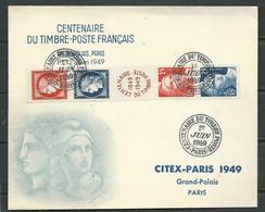 Lsc - Bande Centenaire Du Timbre  830 / 833 Sur Enveloppe Oblitérée Centenaire Du Timbre 1/06/1949  Mab 0811 - Covers & Documents
