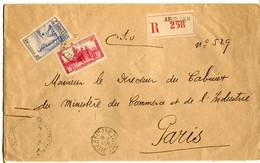 Costa D'Avorio (1938) - Raccomandata Per La Francia - Non Classés